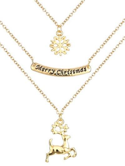 Snowflake Deer Christmas Necklace - Golden