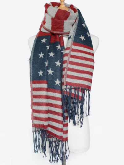 American Flag Pattern Tassel Shawl Scarf - RED  Mobile
