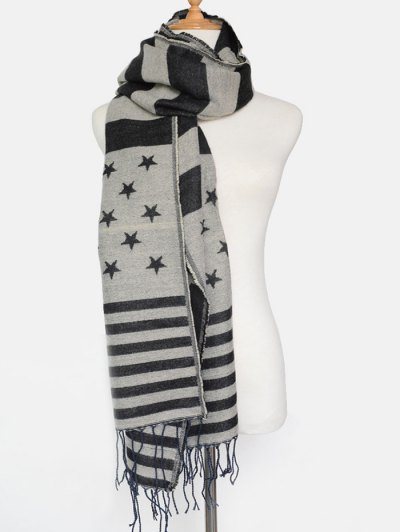 American Flag Pattern Tassel Shawl Scarf - BLACK  Mobile