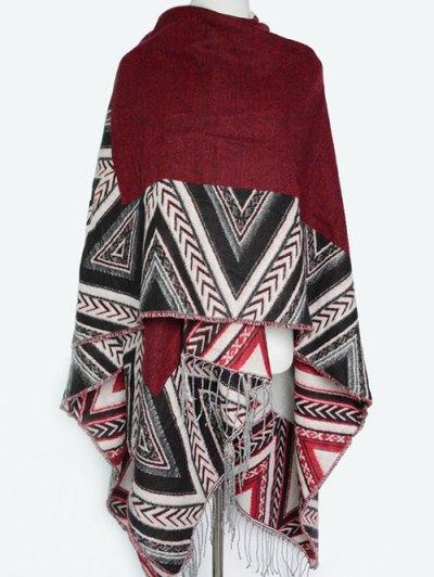 Arrow Direction Tassel Wrap Pashmina - WINE RED  Mobile