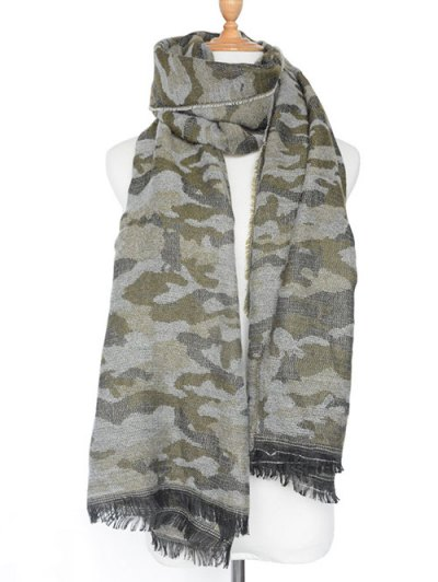 Army Camouflage Fringed Shawl Scarf - ARMY GREEN  Mobile