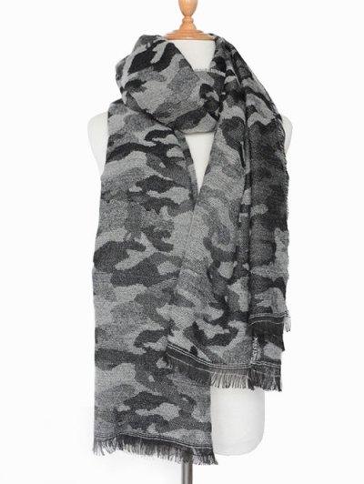 Army Camouflage Fringed Shawl Scarf - BLACK  Mobile