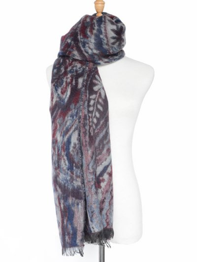 Ethnic Mural Fringed Shawl Scarf - DARK RED  Mobile