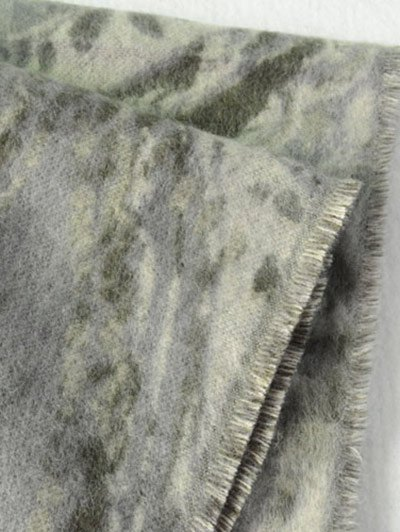 Ethnic Mural Fringed Shawl Scarf - ARMY GREEN  Mobile