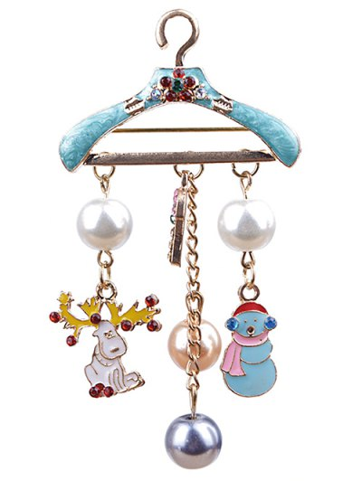 Clothes Hanger Christmas  Brooch - Blue