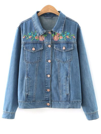 Floral Embroidered Denim Jacket With Pockets - Denim Blue