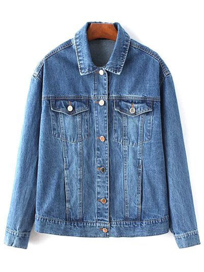 Denim Embroidered Jacket With Pockets - Denim Blue