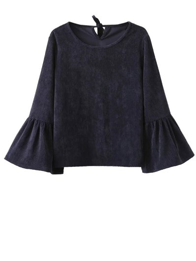 Bell Sleeve Corduroy Blouse - Purplish Blue