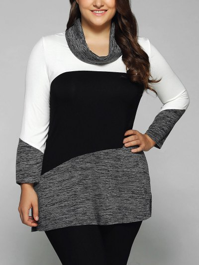 Heathered Cowl Neck Plus Size Blouse - WHITE AND BLACK XL Mobile