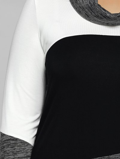Heathered Cowl Neck Plus Size Blouse - WHITE AND BLACK 2XL Mobile