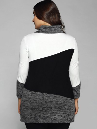 Heathered Cowl Neck Plus Size Blouse - WHITE AND BLACK 3XL Mobile