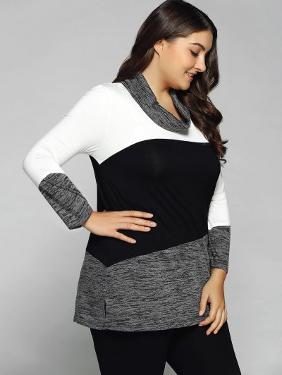 Heathered Cowl Neck Plus Size Blouse - WHITE AND BLACK 5XL Mobile