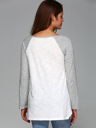 Raglan Sleeve Asymmetrical Tee - GREY AND WHITE M Mobile