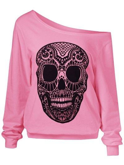 Oblique Shoulder Skulls Print Sweatshirt - PINK M Mobile