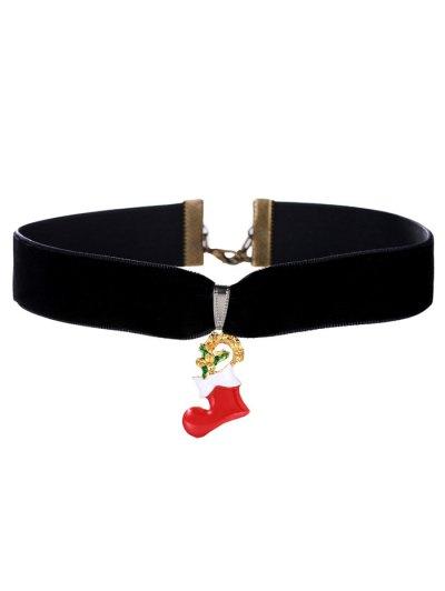 Velvet Christmas Boot Choker - BLACK  Mobile