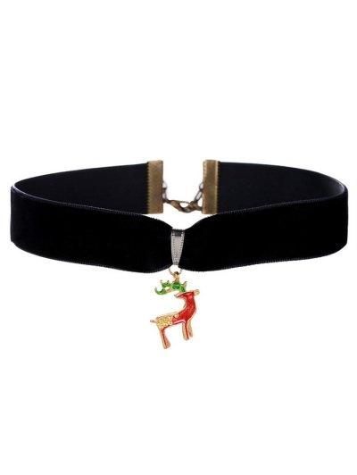 Christmas Deer Velvet Choker - Black