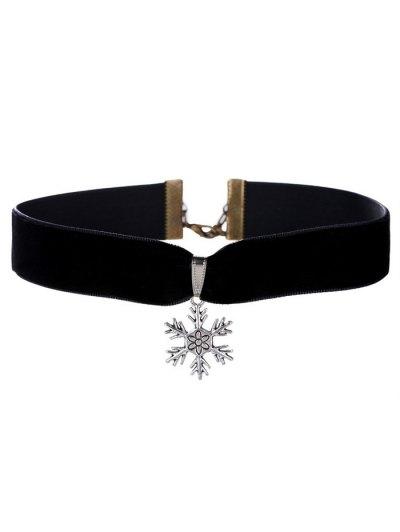 Christmas Snowflake Velvet Choker Necklace - Black