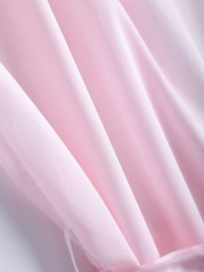 Belted Lace Insert Sleepwear - PINK L Mobile