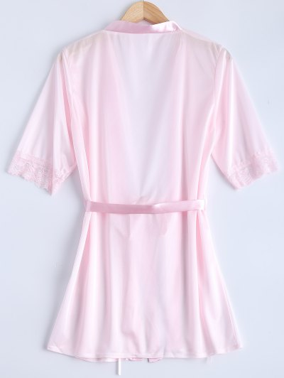 Belted Lace Insert Sleepwear - PINK M Mobile