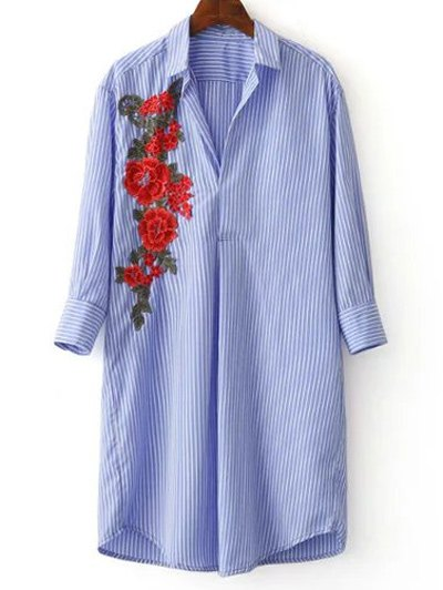 Three Quarter Sleeve Striped Appliqued Shirt - Blue And White