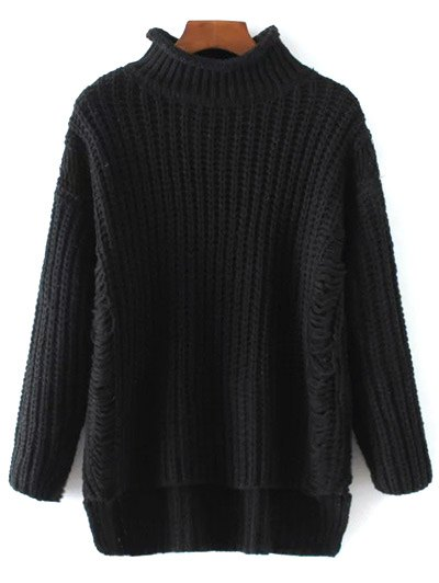 Turtleneck Ripped Chunky Jumper - BLACK ONE SIZE Mobile