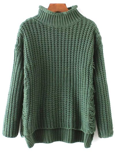 Turtleneck Ripped Chunky Jumper - GREEN ONE SIZE Mobile