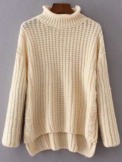 Turtleneck Ripped Chunky Jumper - OFF-WHITE ONE SIZE Mobile