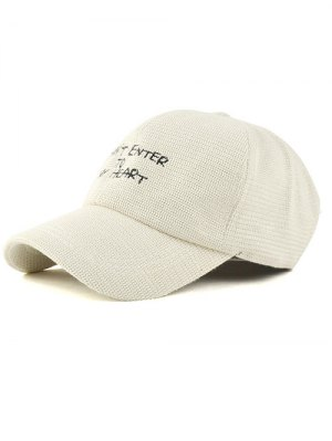 Letter Embroidery Knit Baseball Hat - Off-white
