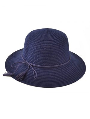 Tassel Lace-Up Knit Bucket Hat - Cadetblue