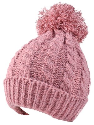 Hemp Flowers Flanging Knit Hat - Pink