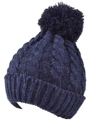 Hemp Flowers Flanging Knit Hat - Cadetblue