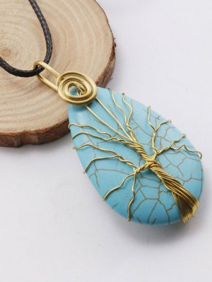 Life Tree Faux Turquoise Pendant Necklace - Black