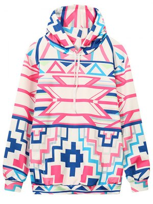 Hooded Geometric Pattern Sweatshirt