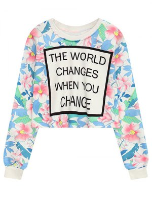 Floral Letter Crew Neck Cropped Sweatshirt - Floral