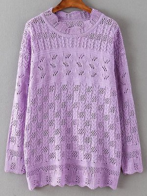 Casual Cut Out Sweater - Purple