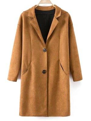 Faux Suede Lapel Coat - Khaki