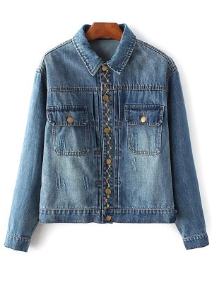 Floral Bird Embroidered Denim Jacket With Pockets - Deep Blue