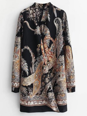 Abstract Print Long Sleeve Shift Dress