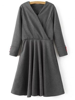 Long Sleeve Crossover Midi Dress - Gray