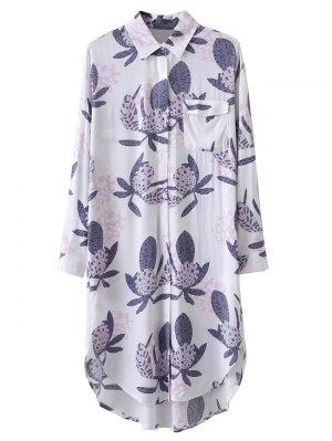 Printed Long Slevee Longline Shirt - White