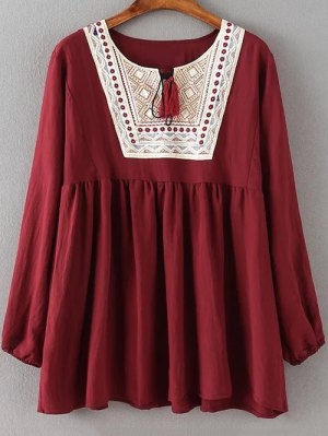 Ruched Loose Embroidered Blouse - Wine Red