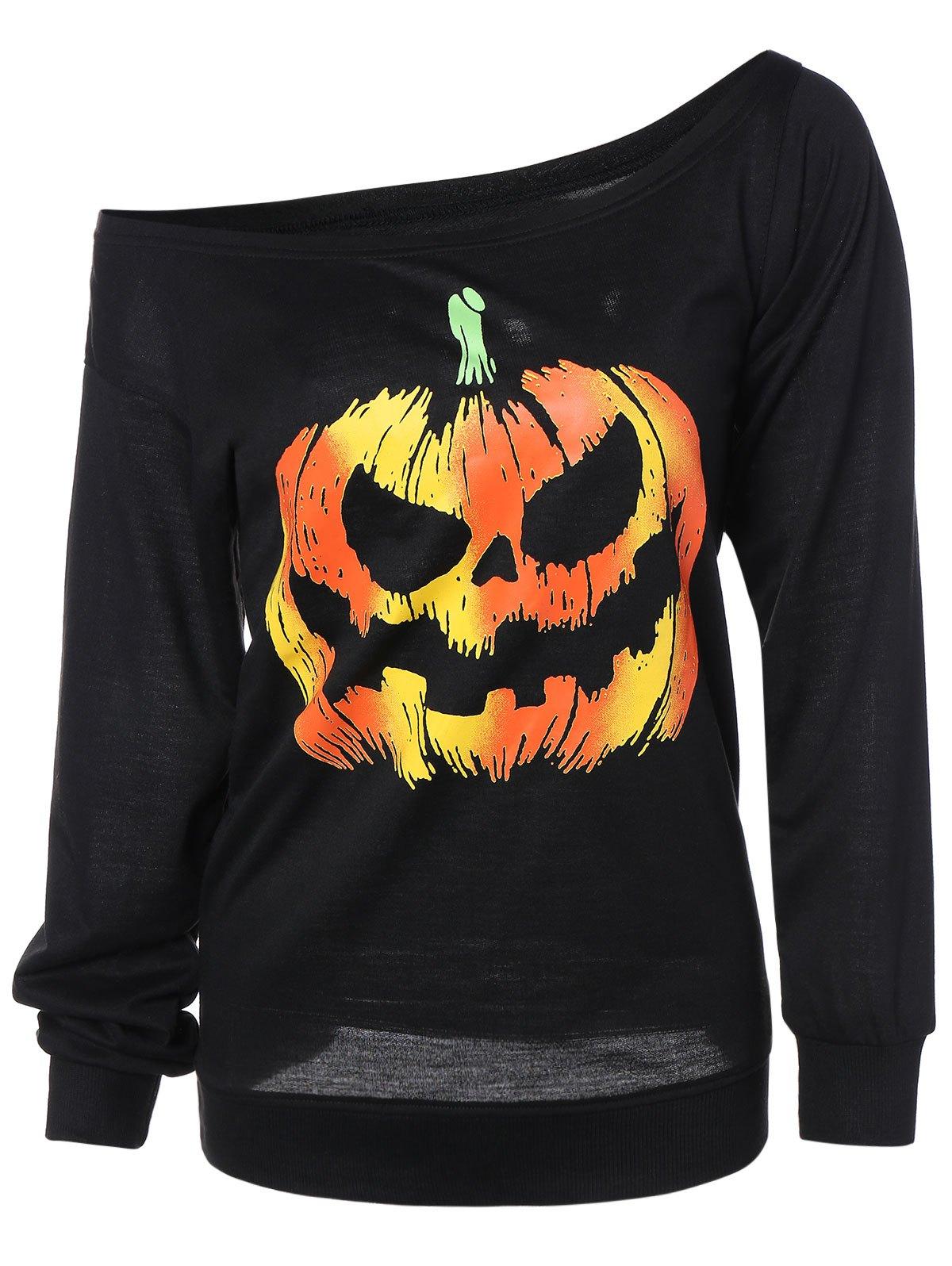 Long Sleeve Pumpkin Print Sweatshirt