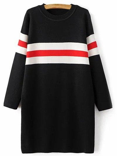 Crew Neck Striped Long Sweater