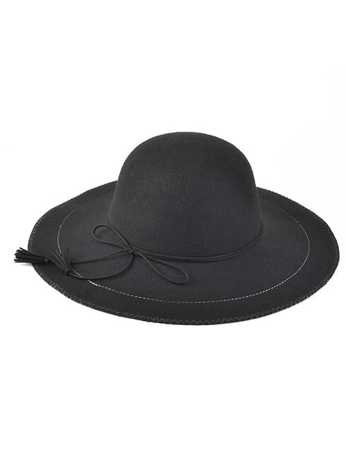 Lace-Up Felt Floppy Hat
