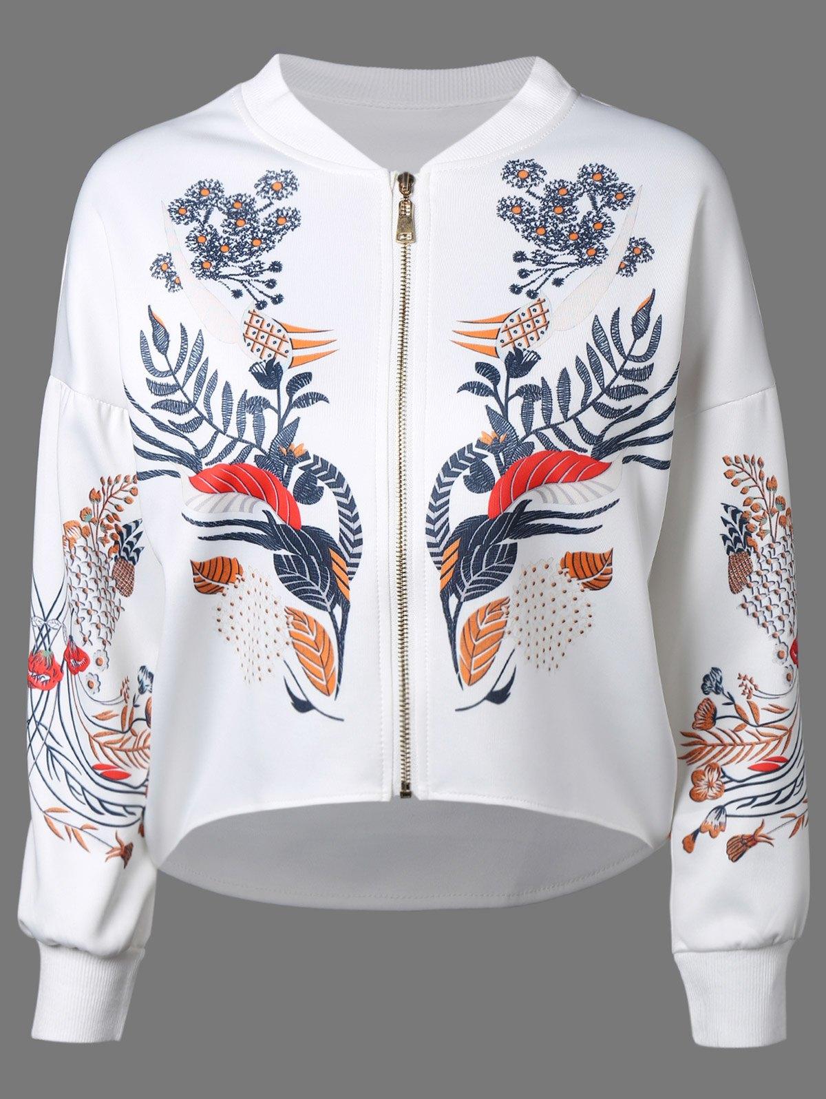 Printed Dipped Hem Zip Up Jacket