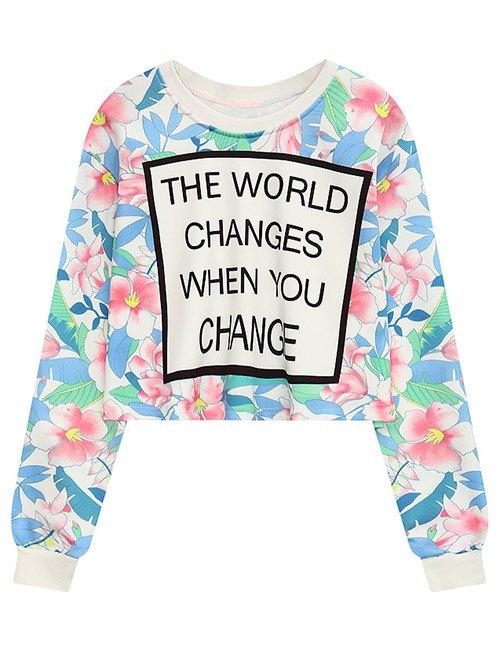 Crew Neck Floral Letter Print Sweatshirt