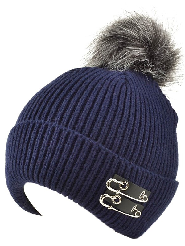 Fuzzy Ball Knit Hat