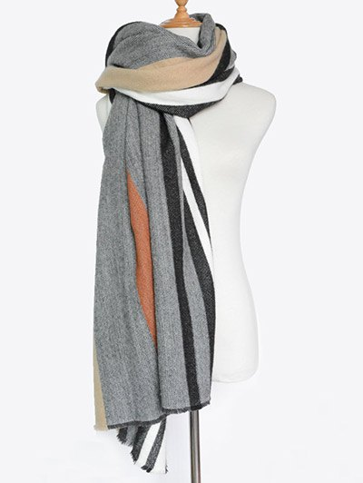 Vertical Stripe Fringed Knit Scarf