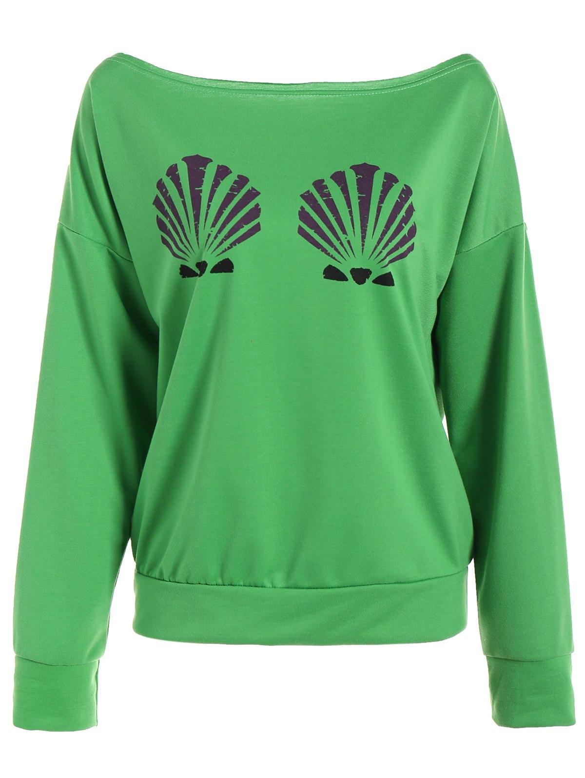 One-Shoulder Shell Print Sweatshirt
