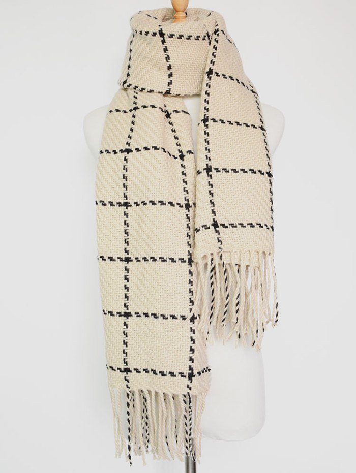 Tassel Plaid Knitted Scarf